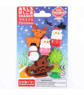 Iwako Puzzle Eraser - Christmas - (Made in Japan)
