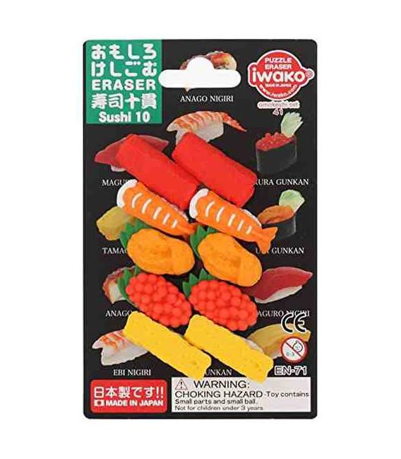 Iwako Puzzle Eraser - Sushi 10 - (Gomas de borrar con diseños) Hecho en Japón