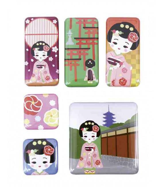 Korochiku - 6 Pieces Japanese Print Magnet - Dangochan