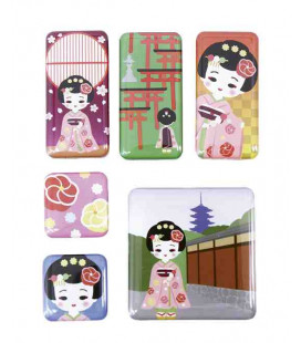 Kurochiku - 6 Imanes con motivos japoneses - Dangochan