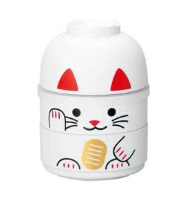 Hakoya Kokeshi Bento - Tamaño M - Modelo 52677-6 (Maneki-Neko) - Color blanco