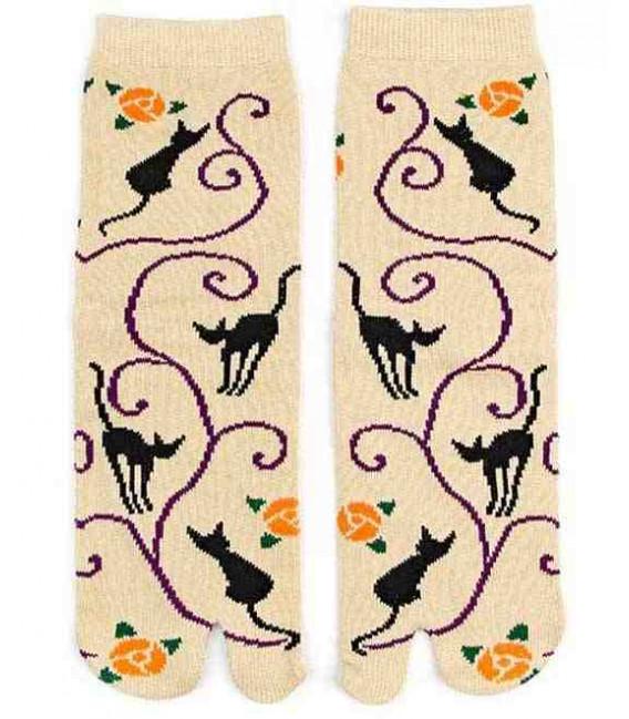 """Calcetines de mujer """"Tabi"""" de dos dedos - Kurochiku (Kyoto)- Mod. Kuroneko Momo (Talla 23-25 cm)"""