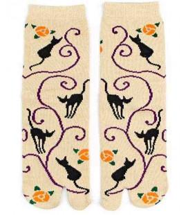 "Calcetines de mujer ""Tabi"" de dos dedos - Kurochiku (Kyoto)- Modelo Kuroneko (Talla única 23-25 cm)"