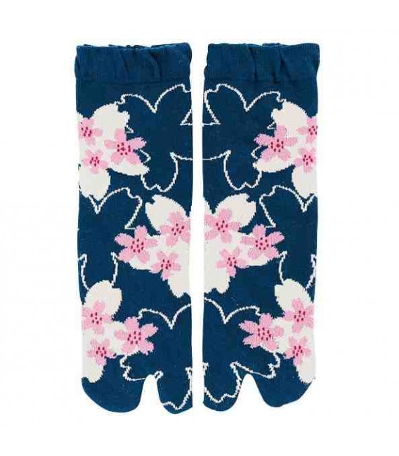 "Calcetines de mujer ""Tabi"" de dos dedos - Kurochiku (Kyoto)-Mod. SakuraDukushi (Talla única 23-25cm)"