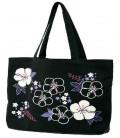 Bolso japonés Kurochiku - Modelo Flores Negras - 100% algodón
