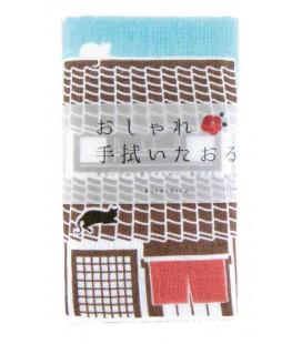 Toalla japonesa tenugui Kurochiku (Kyoto)- Modelo Neko Sanpo