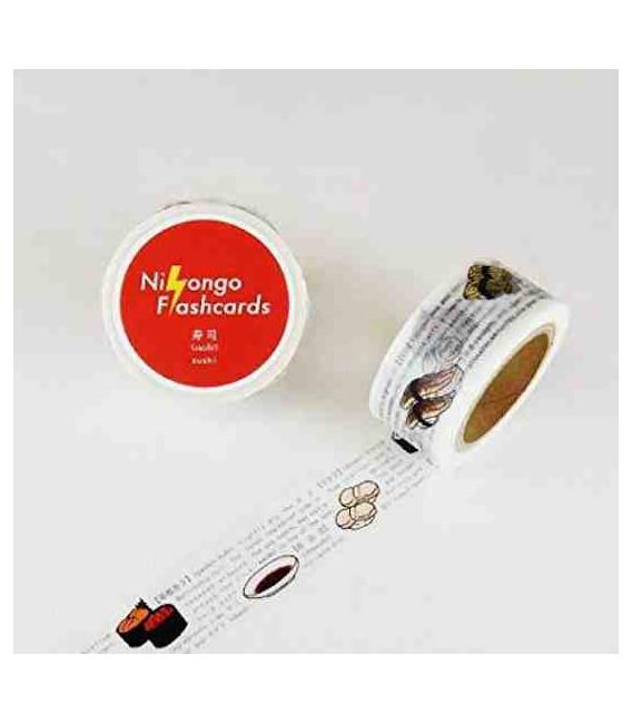 "Cinta adhesiva decorativa japonesa ""Nihongo flashcards"" - Sushi"