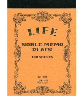 Life Noble Memo - N41 (Tamaño B7 - Color marron - lisas - 100 paginas)