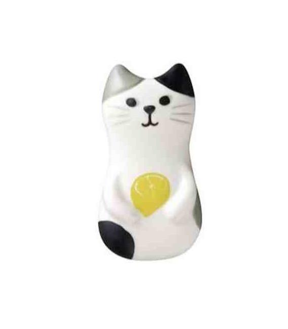Decole - Gato soporte de cerámica para palillos - Modelo Limón