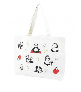 Bolso japonés Kurochiku - Modelo Tote Yoga panda - 100% algodón