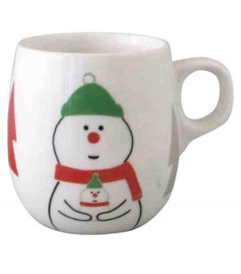 Decole - Taza navideña de cerámica con muñeco de nieve - Modelo ZXS-74041