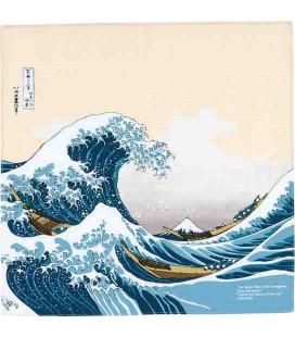 Yamada Seni Musubi - Pañuelo japonés- Ukiyo-e Under The Wave Off Kanagawa Beige- 100% Algodón