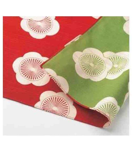 Yamada Seni Musubi - Pañuelo japonés - Albaricoque- Reversible (rojo y verde)- 100% Algodón