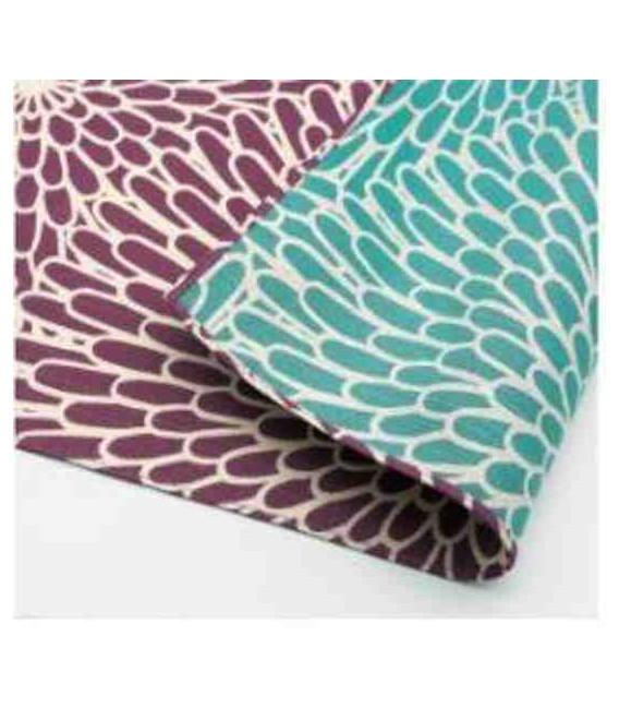 Yamada Seni Musubi - Pañuelo japonés - Crisantemo-Reversible (púrpura y azul)- 100% Algodón
