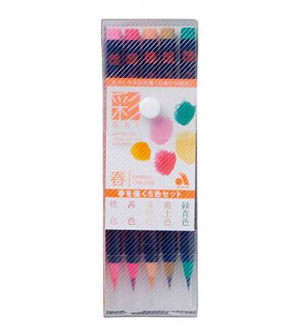 Akashiya Watercolor Brush Pen Sai 5 Colors Set (Spring)